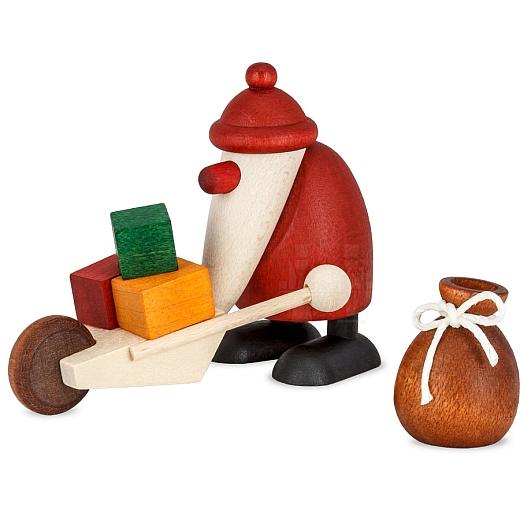 Set 3 Weihnachtsmann mit Schubkarre und Sack
