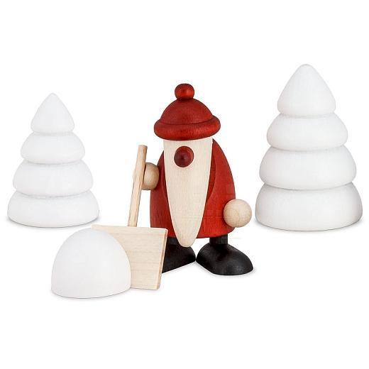 Set 4 Weihnachtsmann mit Schneeschippe und zwei Winterbäumen
