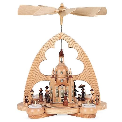 Bogenpyramide Frauenkirche 1-stöckig natur mit Teelichte