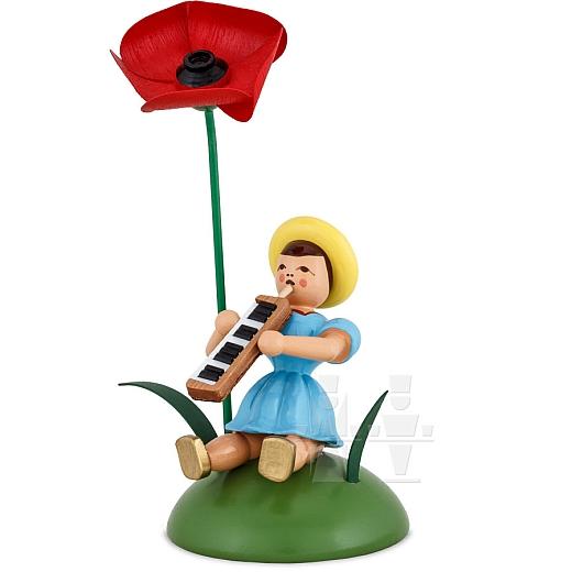 Blumenkind farbig sitzend mit Mohnblume und Melodika