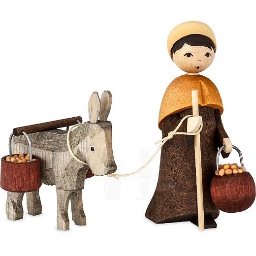 Eselkarawane Treiber mit Esel und Eimer 7 cm gebeizt