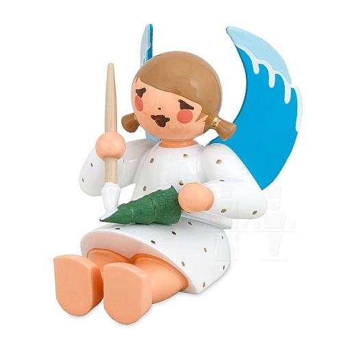 Engel sitzend malend mit Bäumchen weiß