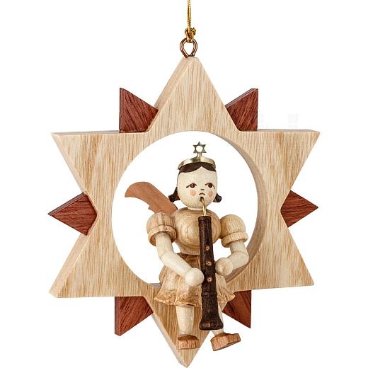 Engel Naturholz im Stern mit Oboe