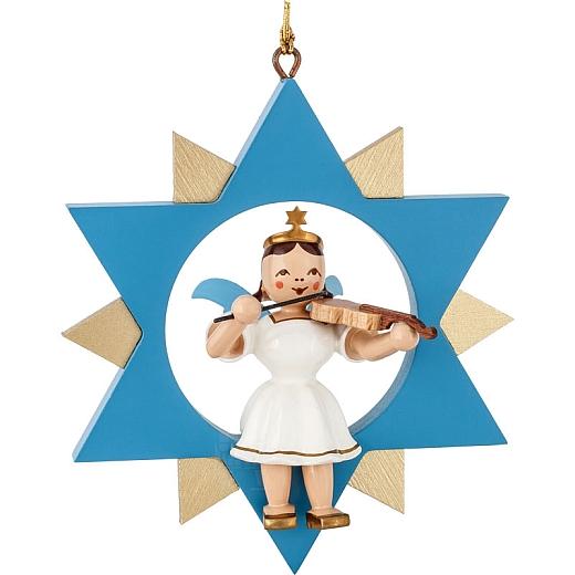 Engel farbig im Stern mit Violine