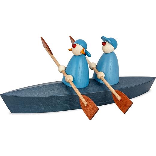 Ole & Svenja im Paddelboot Zweier blau