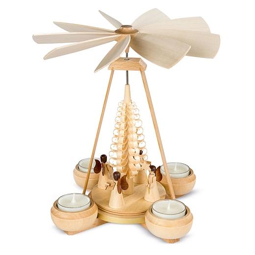 Pyramide mit Engel 1-stöckig natur mit Teelichte