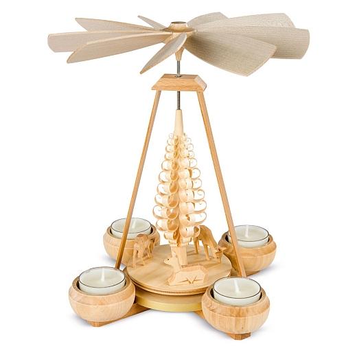 Pyramide mit Rehe 1-stöckig natur mit Teelichte