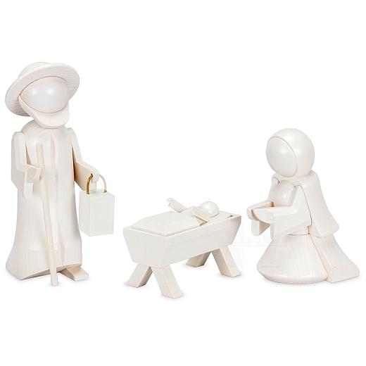Heilige Familie 13 cm weiß lasiert