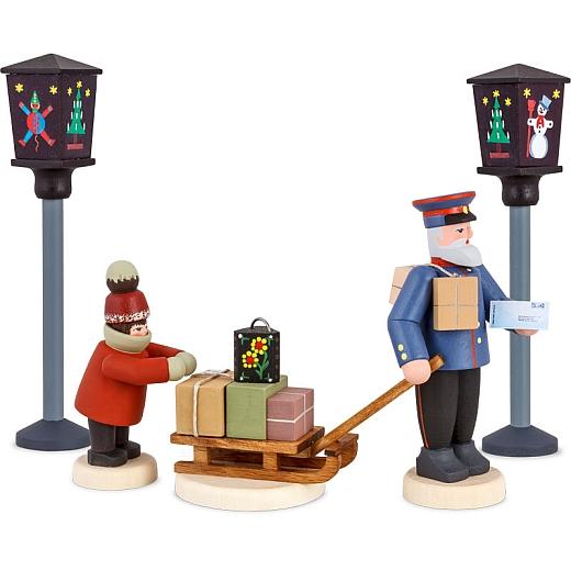 Seiffener Mettengänger Satz 22 Edition 2016 Briefträger mit Schlitten und Kind und zwei Straßenlaternen