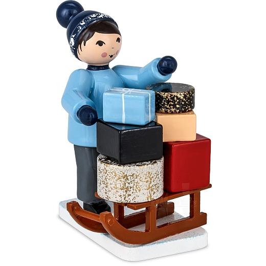 Geschenkträger mit Schlitten blau von Ulmik