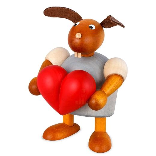 Hase mit Herz hellgrau 11 cm