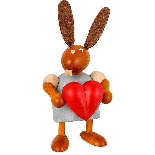 Hase mit Herz hellgrau 7 cm