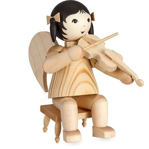 Schleifenengel mit Geige sitzend auf Hocker natur