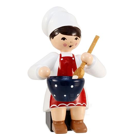 Plätzchenbäckerin mit Schüssel rot von Ulmik