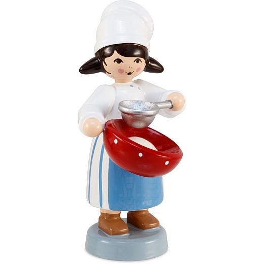 Plätzchenbäckerin mit Sieb blau von Ulmik