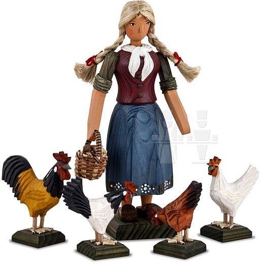 Farmer's wife with chickens, large