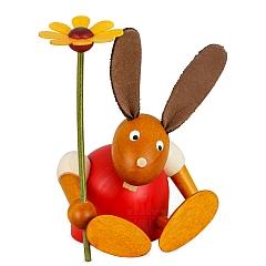 Hase rot mit Blume sitzend 7 cm