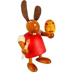 Hase rot mit Pinsel und Ei 7 cm