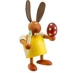 Hase gelb mit Pinsel und Ei 7 cm