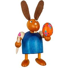 Hase blau mit Pinsel und Ei 7 cm