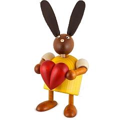 Hase gelb mit Herz 7 cm