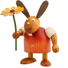 Hase rot mit Blume 11 cm