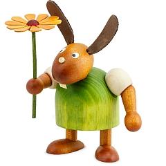 Hase grün mit Blume 11 cm