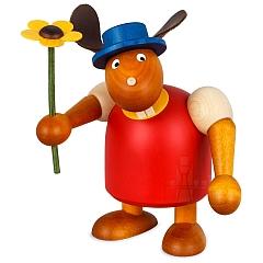 Hase rot mit Hut und Blume 17 cm