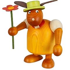Hase gelb mit Hut und Blume 17 cm