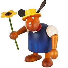 Hase blau mit Hut und Blume 17 cm