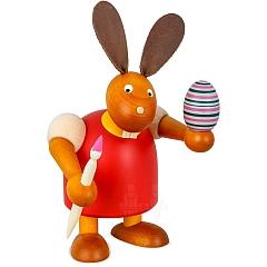 Hase rot mit Pinsel und Ei 17 cm