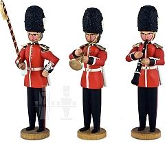 Drei Musiker Tambourmajor, Klarinette und Trompete