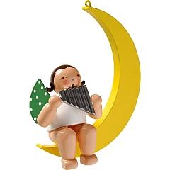 Engel mit Panflöte im Mond