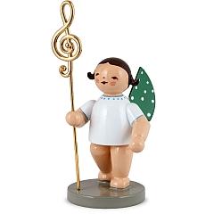 Musikus, Engel mit echt vergoldetem Notenschlüssel rechts Goldedition Nr. 2 von Wendt & Kühn