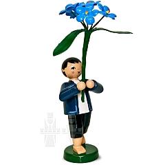 Gartenblumenjunge mit Vergißmeinnicht
