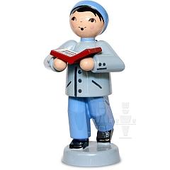 Junge mit Buch blau