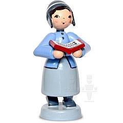 Mädchen mit Buch blau