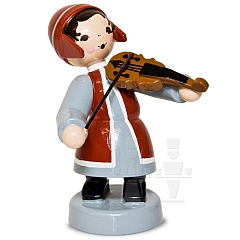 Wintermusikerin mit Geige rot