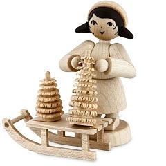 Weihnachtsbaumverkäuferin am Schlitten • natur