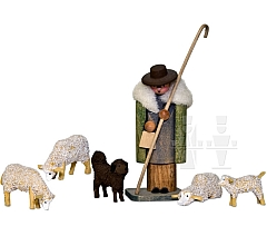 Hirte mit Schafherde