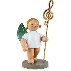 Musikus, Engel mit echt vergoldetem Notenschlüssel links Goldedition Nr. 2 von Wendt & Kühn