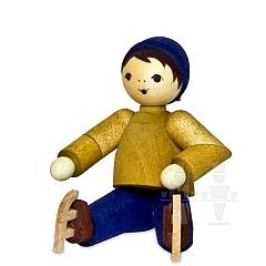 Junge mit Schlittschuhen sitzend • gebeizt
