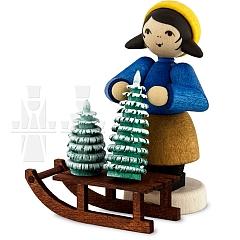 Weihnachtsbaumverkäuferin am Schlitten • gebeizt
