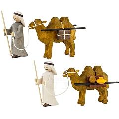 Treiber mit 2 Kamelen 7 cm gebeizt