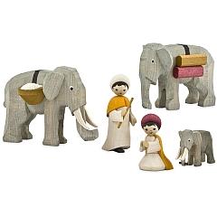 Treiber mit Elefanten 7 cm gebeizt