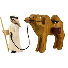 Treiber und Kamel mit Eimern 13 cm gebeizt