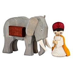 Treiber mit kleinem Elefant 13 cm gebeizt