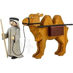 Treiber und Kamel mit Paketen 22 cm gebeizt