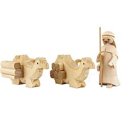 Treiber mit 2 liegenden Kamelen 7 cm natur