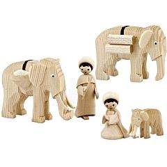 Treiber mit Elefanten 7 cm natur